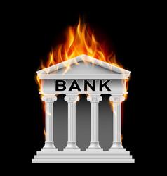 Burning building bank on black background vector
