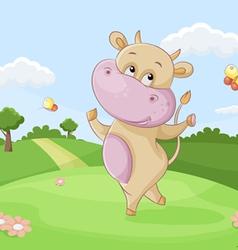dancing cow vector image vector image