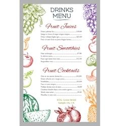 Fruit juicy drinks or juices menu vector image