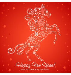New Year card of Horse made of snowflakes vector image