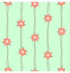 Orange Flower Vine Green Background vector image
