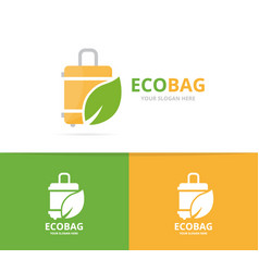 bag and leaf logo combination baggage vector image
