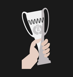 champion winner cup award in hand flat icon vector image vector image