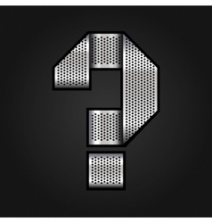 Letter metal chrome ribbon - Question mark vector image vector image