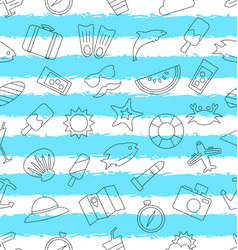 seamless pattern with hand drawn travel objects vector image vector image