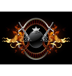 sheriff star with guns ornate frame vector image vector image