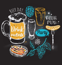 sketch beer round composition vector image vector image
