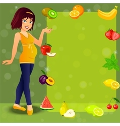 smiling cute pregnant woman vector image