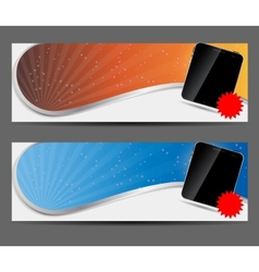 template for smart phone and mobile phone banner vector image vector image