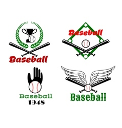 Baseball emblems with crossed bats and balls vector image vector image