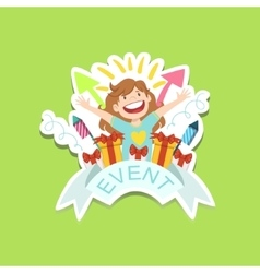 Event Template Label Cute Sticker With Little Girl vector image vector image