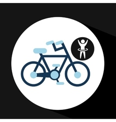 man hand up silhouette with bycicle icon design vector image vector image