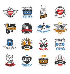 music love heart logo musical heartbeat vector image