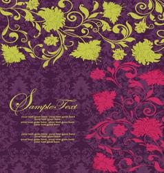 purple damask invitation card vector image