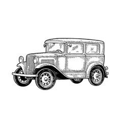 retro car sedan side view vintage black vector image