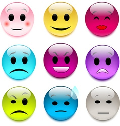 set of color glass smileys vector image vector image