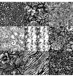 The set monochromatic abstract zentangle seamless vector image vector image