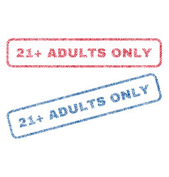 21 plus adults only textile stamps vector