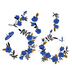 Abstract blue flowers wreaths vector