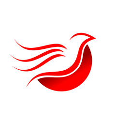 abstract flying red dove bird symbol design vector image