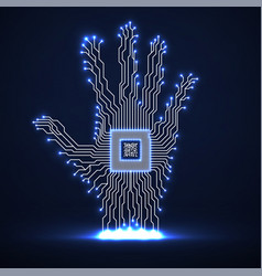 abstract neon hand with cpu circuit board vector image