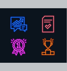 accounting checked file and reward icons winner vector image