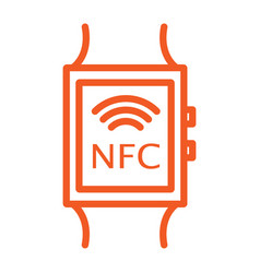 an orange icon with a smart clock display with nfc vector image