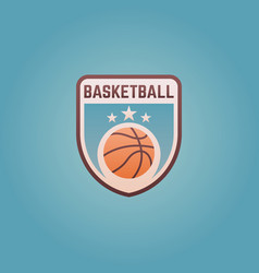 basketball sport team colored shield emblem vector image