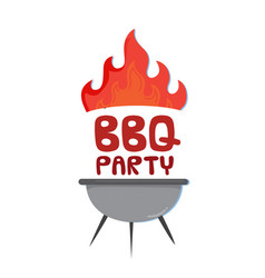 bbq party grill with fire background image vector image