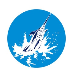 Blue marlin swordfish jumping vector