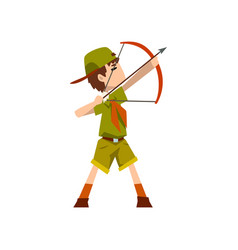 Boy scout character in uniform bow and an arrow vector