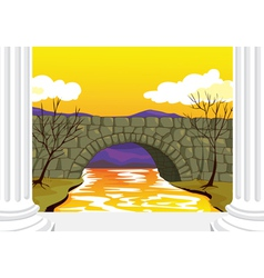 bridge made up of stones vector image