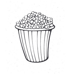 Cartoon bucket full popcorn outline vector
