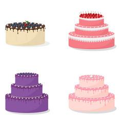 cartoon cakes collection vector image