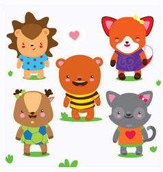 cartoon collection of cute forest baby animals vector image