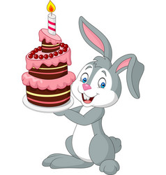 Cartoon rabbit holding birthday cake vector