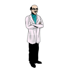 Character doctor with a bald head doctor health vector