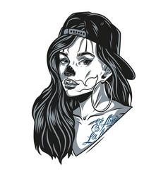 Chicano girl wearing baseball cap vector