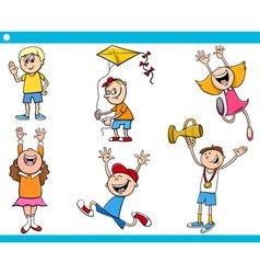 Children characters cartoon set vector