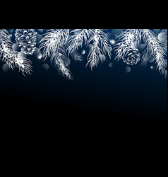 christmas background design of pine leaves vector image vector image