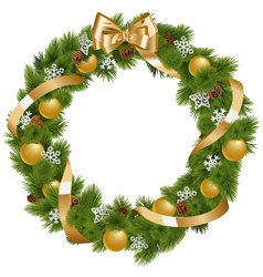 Christmas Wreath with Golden Decorations vector