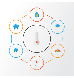 climate flat icons set collection of banner the vector image