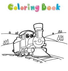 Coloring book train vector image