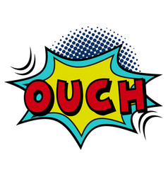 Comic lettering ouch on white background vector