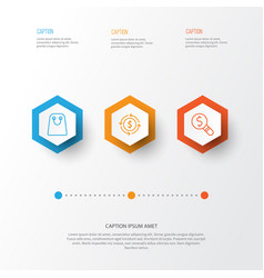 Commerce icons set collection of finance tote vector