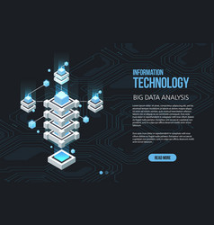 concept of big data processing isometric data vector image