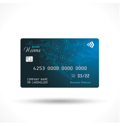 Credit card bright blue design with shadow vector