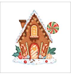 Cute cartoon christmas gingerbread house vector