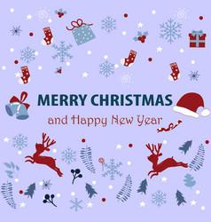 Cute merry christmas animal cartoon card vector