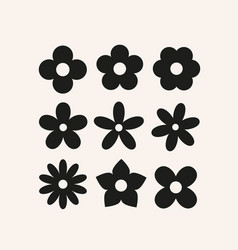 cute simple flowers basic floral shapes vector image